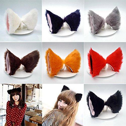 Yinew Katzenohren mit Haarspange für Damen, Mädchen, Plüsch, Anime / Cosplay, weiß, Siehe Produktbeschreibung
