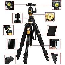 profeshional portable en alliage d'aluminium magnésium q-555(lf393) Monopode et tête à rotule pour trépied pour Canon EOS 100D 1300D 1200D/700D/650D/750D 60D 70D, 7D, 5D, D3200, D3100, Nikon D3300D5300/D5200/D5500, D7100, D7200, D810D800, D610, D600, Fuji FinePix X-S1, HS50, SL1000, Olympus, Pentax K5, K30, K50, K500, Panasonic FZ72fz330FZ1000, Sony A65, A58, a7,7r et plus de DSLR–Hauteur max: 142cm Charge maximale: 8kg.