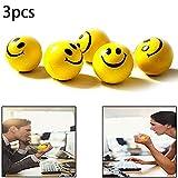 Naisicatar Stressbälle Happy Smile Gesicht Stress Ball Pack 3 Happy Kugel Abklingüberzugsschicht Balls in Gelb Farbe Gute Wahl