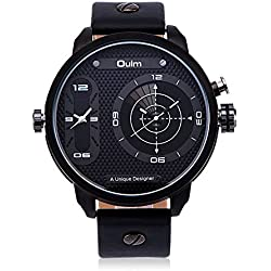 HongBoom Luxury Genuine Leather Band Two Movement White Wrist Watch Mens Casual Business Analogue Quartz Radar Wrist Watches Fashion Dress Wristwatch
