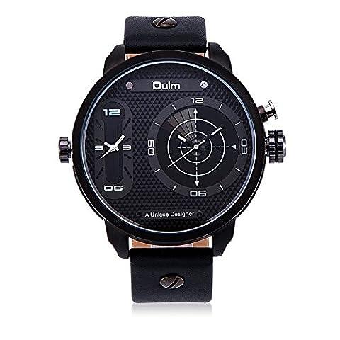 Hongboom véritable de bande de cuir deux Mouvement Blanc montre bracelet Homme décontracté Business Radar de quartz analogique poignet montres Mode Robe