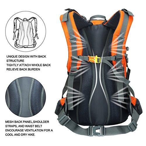 Zaino da Trekking 50 L (45 L+ 5 L), in Nylon Impermeabile Outdoor Zaino, Tracolla di Regolazione Traspirante Zaino da Escursione by Newpurslane Orange
