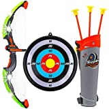 IndusBay Kids Archery Toy Bow & Arrow Luminous Archery Shooting Set With Quiver , Target Board - 24 Inches LED Light Up Bow - For Boys - Green
