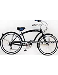 Micargi Rover 7-speed 26 for men (Glossy black), Beach Cruiser Bike Schwinn Nirve Firmstrong Style by Micargi