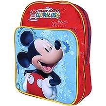 Mochila para niño Mickey Mouse - Bolso escolar con bolsillo frontal con estampado Ratón Mickey - Bolsa para la escuela y la guarderia - Rojo y Azul - 22x29x12 cm - Perletti