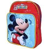 Kinder Rucksack für Jungen Mickey Mouse - Schulranzen mit Motiven aus Micky Maus Wunderhaus - Schulrucksack für Schule und Kindergarten mit verstellbaren Schulterriemen - Perletti 22x19x12cm