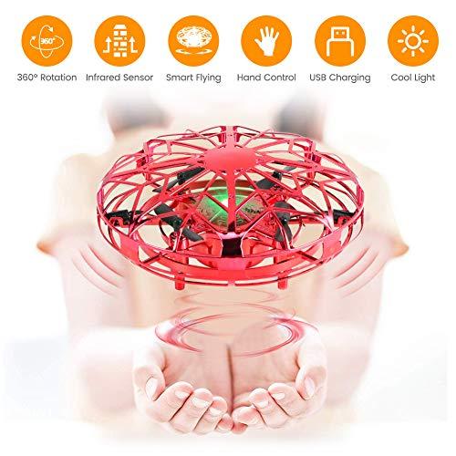 Delicacy Mini UFO Drohne für Kinder, UFO Flying Ball, Fliegender Ball Handsteuerung, Levitation UFO, Hubschrauber Quadrocopter mit 360°Rotierenden und LED-Leuchten, Indoor-Flugspielzeug Geschenke