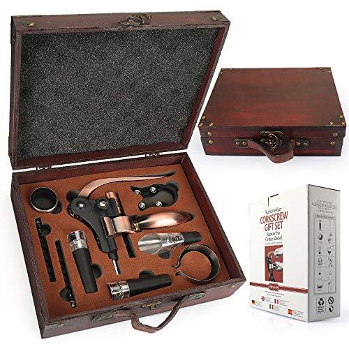 YOBANSA Ensemble-cadeau d'accessoires pour le vin avec coffret en bois antique, kit d'ouvre-bouteille de lapin, tire-bouchon pour le vin, bouchon de vin, verseur pour le vin