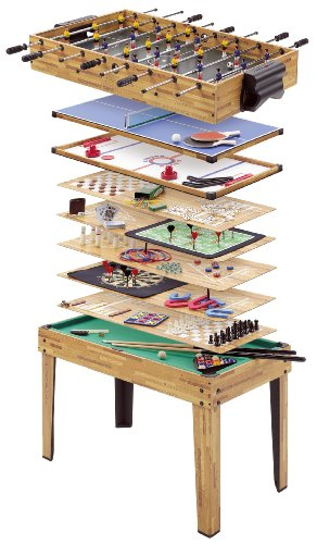 Mightymast Leisure 34-IN-1 Multiplay Games Table Incorporating Table Football, Hockey, Pool, Table Tennis & 31 Other Games Including All Accessories