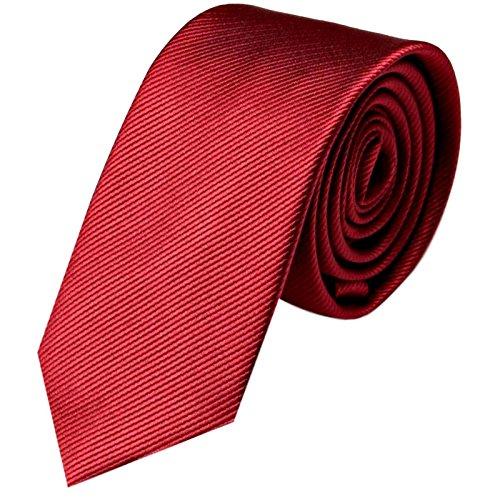 GASSANI Krawatte 6cm Schmal gestreift | Wein-Rote Rips Herrenkrawatte zum Sakko | Slim Schlips Binder einfarbig Bordeaux-Rot mit feinen Streifen