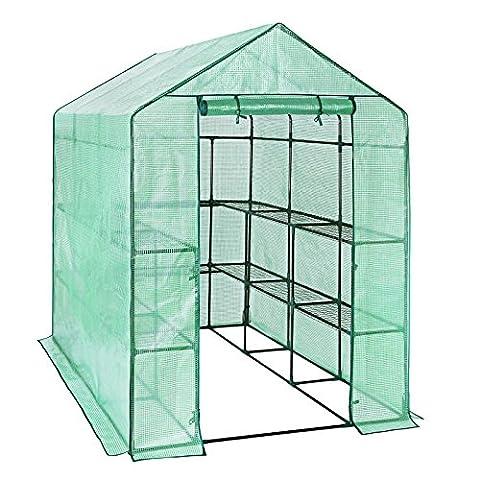 Songmics Foliengewächshäuser Gewächshaus mit 140 g/m² PE Gitterplane 143 x 215 x 195 cm GWP13L