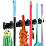 Rovtop Gerätehalter Wandhalterung für Mopp Besen Gartenwerkzeuge mit 6 Haken mit 5 Schnellspannern