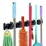 Rovtop Gerätehalter Halterung Gartengeräte mit 6 Haken und 5 Schnellspannern Wandhalterung für Mopp Besen Gartenwerkzeuge