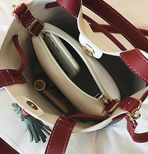QPALZM 2 Stück Set Womens Girl's Schultertasche Eimer Handtasche Quasten Retro Clutch Bag Large Brown