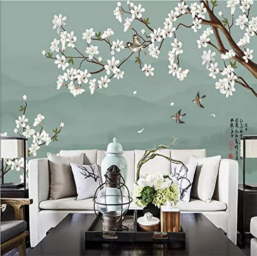 Aufkleber Wand Wandbilder Dekorationen Ruhige Weiße Birnenblume des Mondscheins Dekoration Home Wohnzimmer Hintergrund Landschaft Kunst Kinderküche (W) 400x(H) 280cm ()