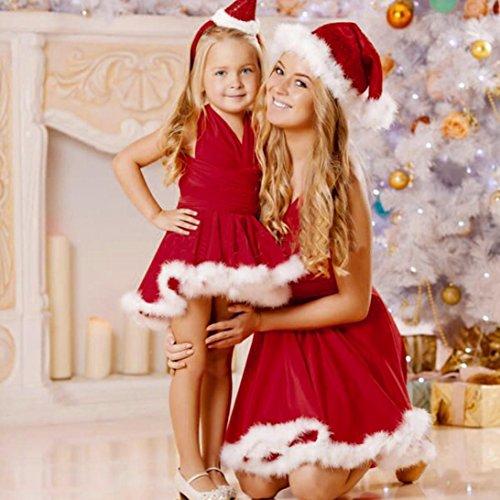 (WensLTD Kinder-Kleid mit passendem Weihnachtsmotiv, ärmellos, Polyester, mädchen, 3-4T)