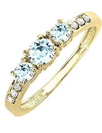 4e063db4e9f 10 K Or jaune rond Pierre précieuse et diamant Blanc 3 Pierre Bague de  fiançailles de