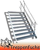 9 Stufen Stahltreppe einseitigem Gelände / Breite 100 cm Geschosshöhe 135-180cm / Robuste Außentreppe / Wangentreppe / Stabile Industrietreppe für den Außenbereich / Inklusive Zubehör