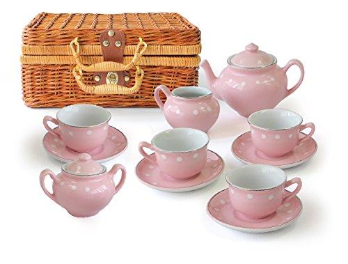 MMP Living Kinder Porzelan Tee Set - 13 Teile im Koffer - Pink