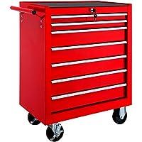 TecTake Carro de herramientas con ruedas | 7 cajones con cerradura | -varios modelos- (Rojo | No. 402799)