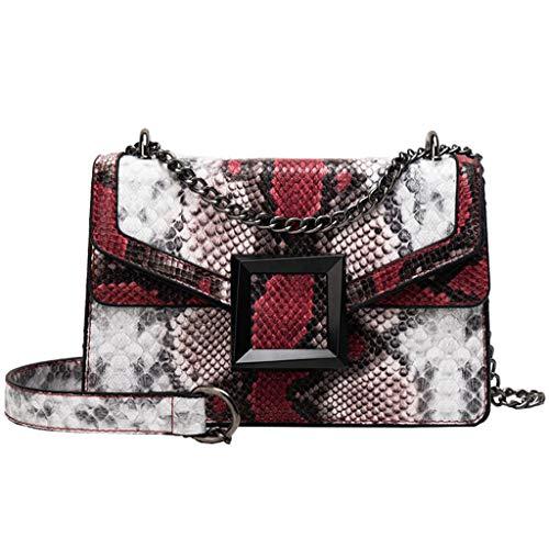 SuperSU Handtaschen  Damen Mode Retro Schlange Print mit Schnalle Kette Klein Henkeltaschen Hüfttaschen Lässiges Umhängetasche Brusttasche Schultertasche...