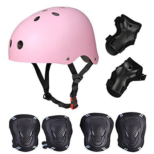 SymbolLife Skateboard / Skate Protektoren Set mit Helmet -- Skate Helmet Knie Pads Elbow Pads mit Handgelenkschoner für Skate, Skateboard, Roller Skate, BMX, Bike und anderen Extreme Sports, M Pink (Bike Knie Pads)