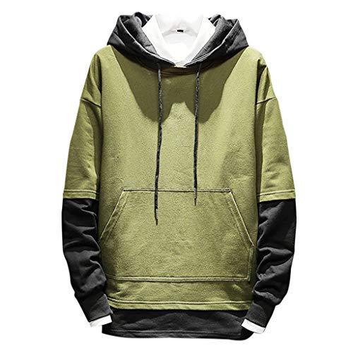 Realde Herren Langarm Hoodie T-Shirt Kapuzenshirt Mit Taschen Männer Pullover in Vielen Farben Kapuzenpullover für Fitness Freizeit | Weiß, Armee grün, schwarz, grau | Oberteile