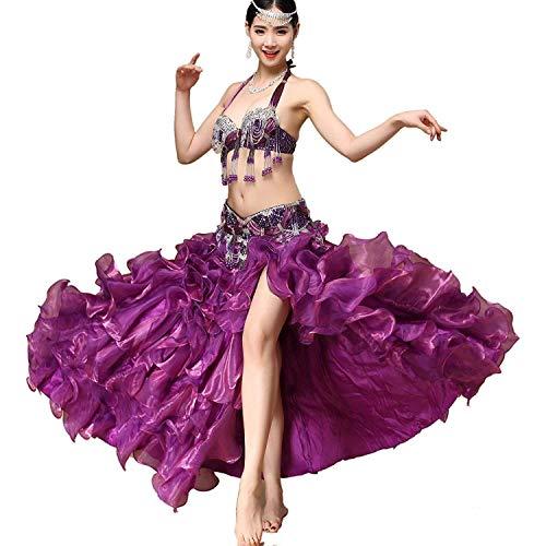 Gift Für Lila Kostüm Erwachsene - CX Erwachsene Frauen Bauchtanzkleid Kostüme Kostüme Leistungsanzug , Glänzender BH + Gürtel + Seitliche Geteilte Große Schaukelrock 3tlg (Farbe : Lila, größe : XL)