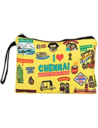 Eco Corner - I Love Chennai - Pouch - Big - 100% Cotton/Washable/Printed On Both Sides/Zip Closure With Carry...