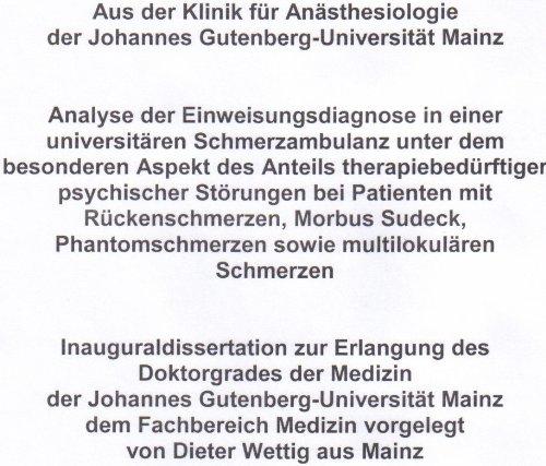 Analyse der Einweisungsdiagnose bei Patienten mit Rückenschmerzen, M. Sudeck, Phantomschmerzen sowie multilokulären Schmerzen