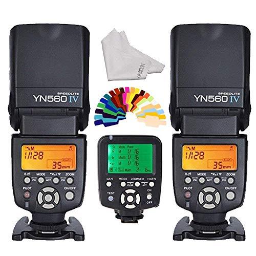 Yongnuo 560iv 2Wireless Universal Flash Speedlite + yn560-tx LCD Flash Trigger Remote Controller für Canon DSLR-Kameras + inseesi Reinigungstuch + 20Farbe Filter