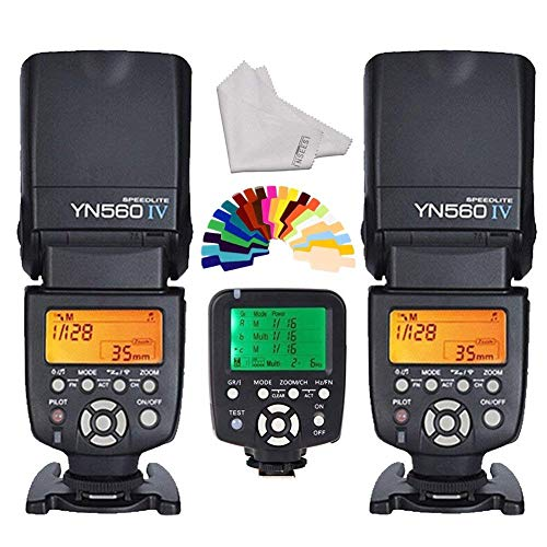 Yongnuo 560iv 2Wireless Universal Flash Speedlite + yn560-tx LCD Flash Trigger Remote Controller für Canon DSLR-Kameras + inseesi Reinigungstuch + 20Farbe Filter Yongnuo Flash