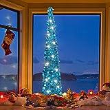 """""""Promoción para Navidad> 50% de descuento para tu nuevo año""""Joy-Leo Oropel / Azul, de Árbol de Navidad, Oropel Plegable Árbol de Navidad, decorado con Lentejuelas【un conjunto, 5ft / 1.5M】"""