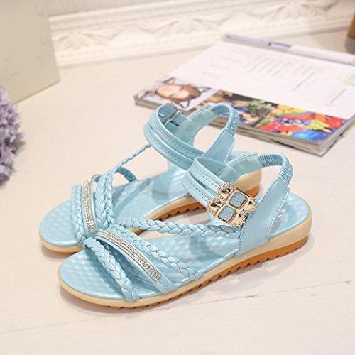 Webla Damen Sommer Sandalen Niedrige Sandalen Blau