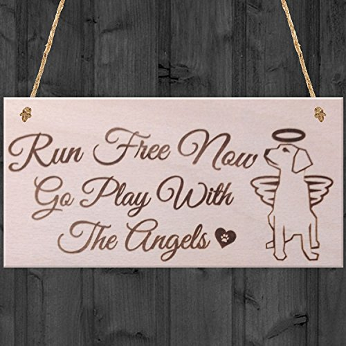 Run Free ahora Go Play Con Los Ángeles placa conmemorativa de perro mascota de madera para colgar señal