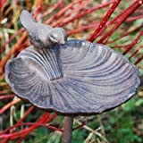 Tall Cast Iron Garden Bird Feeder On Stake Shell Design Bowl