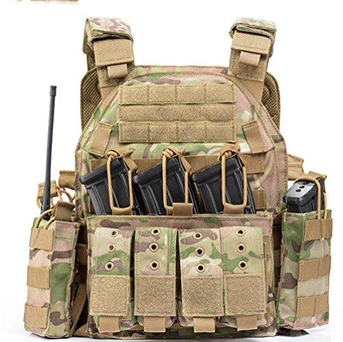 Nlne Chaleco protector de nailon para exteriores, ajustable, con equipo especial, beige