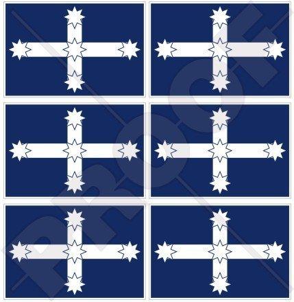 Australien EUREKA STOCKADE Flagge Αustralisch 40mm Mobile, Handy Vinyl Mini Aufkleber, Abziehbilder x6 Stickers - Eureka Mini