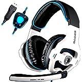 SADES SA903 Lumières pour les joueurs PC 7.1 Surround Sound Pro stéréo USB Gaming Headset Bandeau Casques avec microphone Deep Bass Over-the-Ear Volume Control LED (blanc)