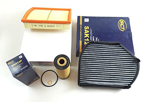 Preisvergleich Produktbild FILTER SET ÖLFILTER LUFTFILTER AKTIVKOHLEFILTER SLK R170 200 - 230 + KOMPRESSOR