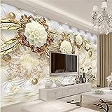 YUSDK Carta da Parati Personalizzata per Foto murali in 3D murale autoadesivi murali Oro Bianco Gioielli TV Sfondo Nero, 100 * 70