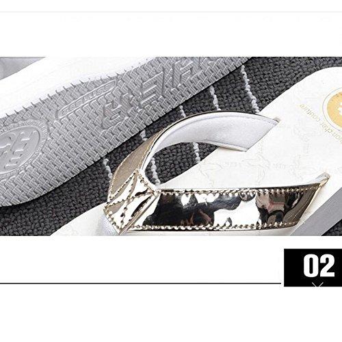 Estate Sandali Sandali di estate nuovi moda Pantofole antisdrucciolevoli delle donne Pattini freddi della spiaggia Nero, grigio, bianco Colore / formato facoltativo Bianca