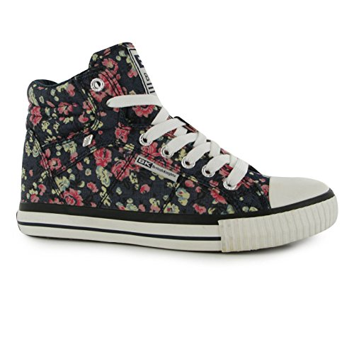 British Knights Enfants Dee Filles Chaussures Montantes Baskets Plates Plimsoles Navy/Floral