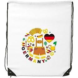 Deutschland Customs Landmark Flagge Ernährung Kleidung Kultur Illustration Muster Kordelzug Rucksack feine Linien Shopping Creative Handtasche Schulter Umweltfreundliche Tasche aus Polyester