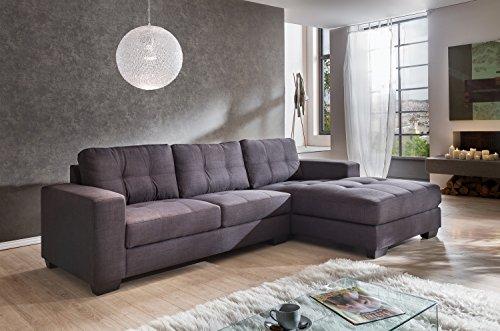 SAM Ecksofa Garnitur Aviano Stoff-Polstergarnitur in grau, Ottomane rechts, Sofa im abgesteppten Design, pflegeleichte Oberfläche, sehr hoher Sitzkomfort,...