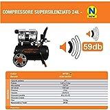 Compressore a secco super silenziato Vinco 8t 24lt 50lt Ecologico ed innovativo (24lt 60700 EcoSilent)