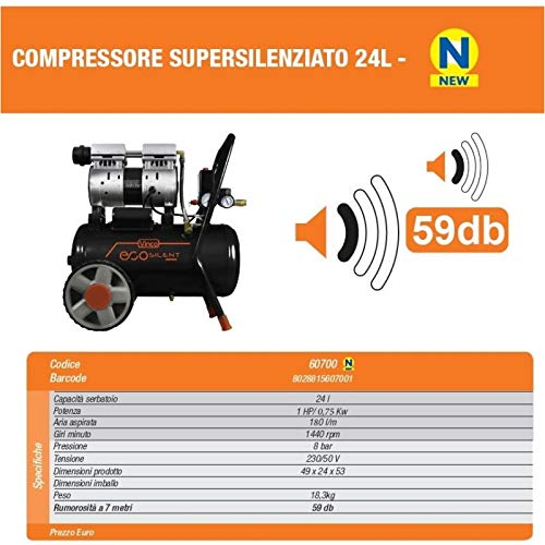 Compressore a secco super silenziato Vinco 8t 24lt 50lt Ecologico ed innovativo...