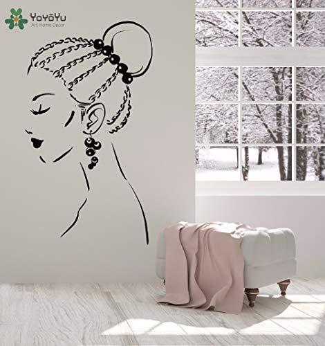 zhuziji Wall Decal Girls Beauty Salon Vinyl Wall Sticker Cool Woman Hairstyle Art Mural Earring Pattern Bedroom Decor Desi 86x150cm