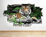 tekkdesigns H433Tiger Jungle Wild Animal zerstörten Wand Aufkleber 3D Kunst Aufkleber Vinyl Zimmer (groß (90x 52cm))