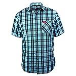 Funktions-Hemd Freizeit-Hemden Herren Kurzarm von Fifty Five - André black/blue check M - Quick-Dry und UV-Schutz für Outdoor-Bekleidung